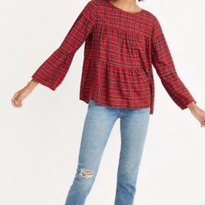 Madewell Red Plaid Tiered Button Back Top.